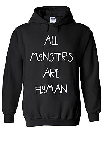 All Monsters Are Human Novelty Black Men Women Unisex Hooded Sweatshirt Hoodie-L