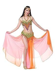 Dance Fairy Orange Jupe de Fente de la Performance Jupe de Danse en Mousseline de Soie de Haute Qualité(34B/75C Soutien gorge+Ceinture+Jupe)