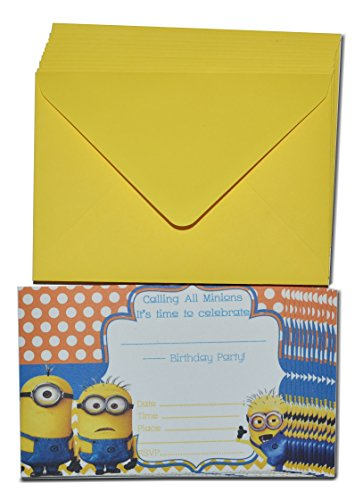 Image of Despicable Me Minions Birthday Invitation A6 Size with 12 Envelopes & 12 Invitations