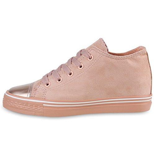 Stiefelparadies Damen Sneaker Wedges Keilabsatz Sneakers Glitzer Schuhe Zipper Wedge Turnschuhe Metallic Flandell Rosa Metallic