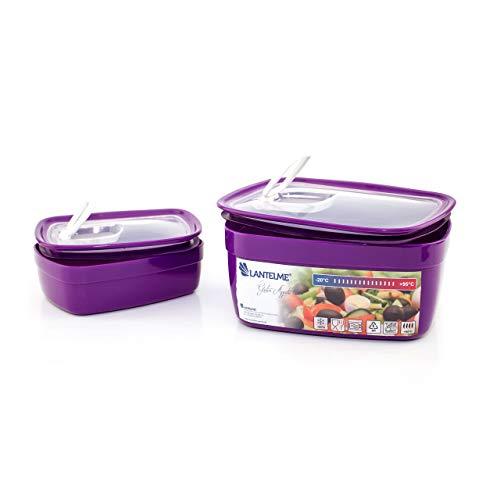 Set di 2 contenitori tupperware per microonde con valvola di sfogo per vapore - Capacità 1,8l - Lavabile in lavastoviglie