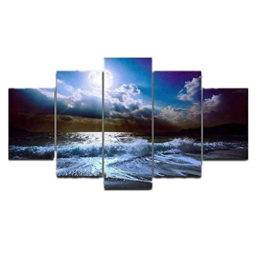 PANGUN 5 Cascade The Blue Sky River Wall Painting Home Decoration Without Frame Including Installa -