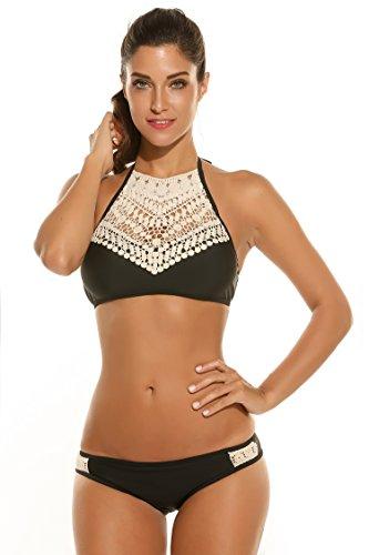 Damen Mädchen Zweiteilige Neckholder Sport Push Up Bikini Set Badeanzug Bademode (Verstellbare Neckholder-bikini-top)