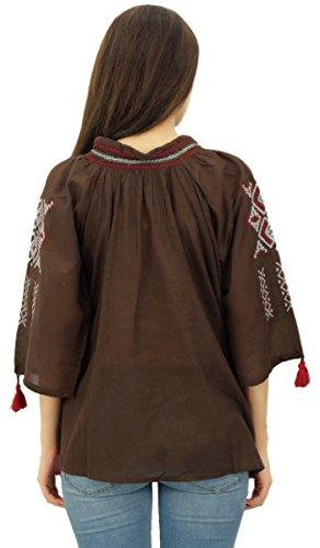 Frauen tragen 3/4 Hülsen Sommer aus Baumwoll Voile gestickte Top zufällige Spitze Braun