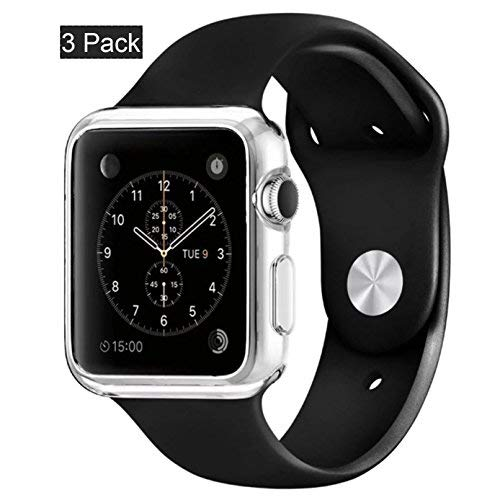 [3pack]Crystal clear iWatch 38mm Case , CaseHQ Ultra Slim 0.3MM Lightweight Polycarbonate Hard Protective Bumper Cover for All Versions 38mm Apple Watch Series 1/ Original (2015)Sport & Edition-Clear