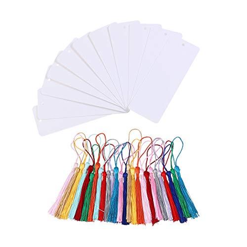 STOBOK Segnalibri cartoncino bianco 24 pezzi Segnalibri cartoncino bianco con nappa (bianco)