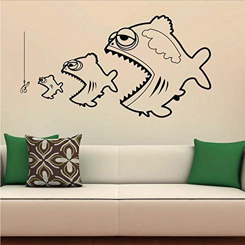 (Koyiyo Angeln Wandaufkleber Wohnkultur Fisch Überleben Kunst Vinyl Wandtattoos Abnehmbare Dekorationen Für Kinder Schlafzimmer 108 * 59 Cm)