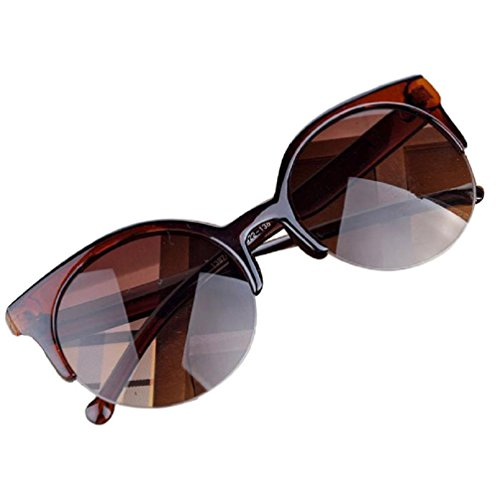 Bluester Fashion Vintage Sunglasses Retro Cat Eye Semi-Rim Round Sunglasses for Men Women Sun Glasses (A)