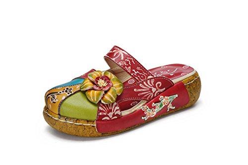 Sandali da donna, popoti ciabatte in pelle pantofole mocassini pompe estive slip-on fiore vintage senza schienale flip flops sandali infradito spiaggia 2018 nuovo-rot 39