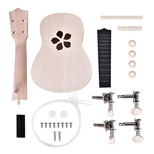 Milnnare ukulele 22inch kit fai da te chitarra lavoro manuale supporto pittura bambini assemblaggio giocattolo - Fiore#