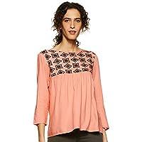 Styleville.in Women's Plain Regular Fit Top (STSF401630-Peach-L)