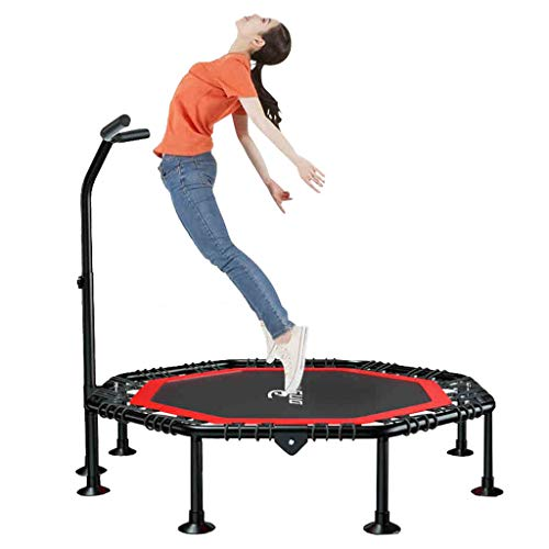 Faltbares Fitness Trampolin für Indoor Outdoor | Jumping Trampoline Rebounder Erwachsene Kinder Bungee Anfänger mit Griff Haltestange | elastisch seile Sprungfläche