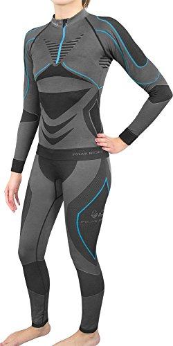 Damen Set Funktionsunterwäsche Polar Husky Thermoaktiv Atmungsaktiv Skiunterwäsche - Ski - Snowboard - Langlauf Farbe Schwarz/Türkis Größe S/M