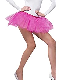 Ladies Adults Neon Nights Fancy Dress Tutu Underskirt Fuchsia Womens Outfit