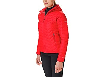 Columbia Women's Hooded Jacket, Powder Lite, Red Lily, Large