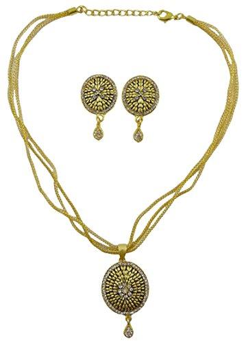 Matra Goldton CZ Stein Ethnic 2 Stück Anhänger Halskette Ohrringe Set Trachten (Ohrringe Trachten Schmuck Cz)