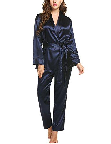 HOTOUCH Damen Schlafanzüge Lang Satin Pyjama Set Langarm Nachtwäsche Loungewear Sleepwear (Seide Schlafanzug)