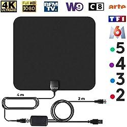 KafooStore Antenne TV Intérieur Puissante, Performante pour Reception TNT Difficile, Amplificateur Booster Signal, Chaînes Locales Gratuites 1080P 4K, Câble Coaxial 4m VHF UHF FM