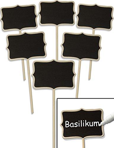 HomeTools.eu® - 6X Klassische Holz Pflanz-Schilder | Beet Balkon Kräuter-Garten Blumen-Kübel | Landhaus | beschreibbar, 17cm, Classic, 6er Set (Kräuter-garten)