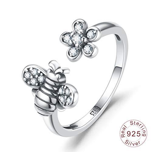 Damen 925 Sterling Silber Ring, Mode Tier Biene Blume Klar AAA Zirkon Offen Einstellbare Vintage Liebhaber
