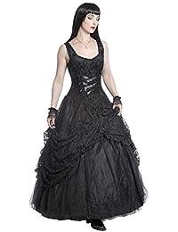 Sinister Robe Longue Noire Bustier avec drapé en Dentelle et laçage 5512cba292f
