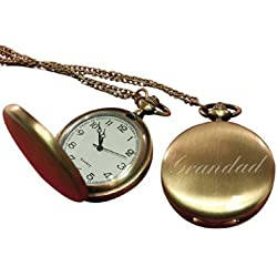Grandad pocket watch brass effect, personalised / custom engraved in gift box - pwbr
