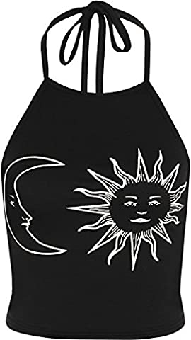 WearAll Women's Sun Moon Print Halter Neck Sleeveless Tied Crop Vest T-Shirt Top - Black White - 8-10