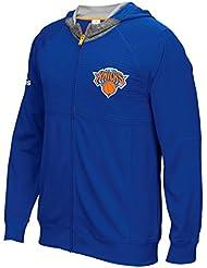 """New York Knicks Adidas 2016 NBA Men's On-Court """"Pre-Game"""" Full Zip Hooded Jacket Veste"""