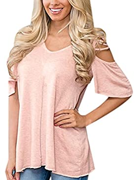 Camisas De Mujer Blusas Manga Corta Camiseta Hombros Descubiertos T-Shirt Casual Cuello V Camisetas Dama Top Tee...