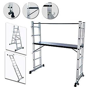 UISEBRT Andamio de Aluminio Multipropósito 3 en 1 – Escalera Plegable Aluminio – Máx. Carga de Capacidad de 150 kg