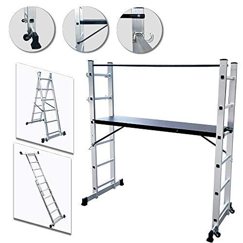 UISEBRT Andamio de Aluminio Multipropósito 3 en 1 - Escalera Plegable Aluminio - Máx. Carga de Capacidad...