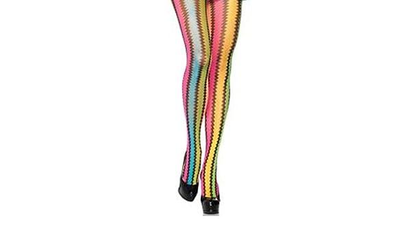 0c64ac832ea34 Music Legs Rainbow Multi Coloured Knit Zig Zag Striped Tights One Size Amber  Rose: Amazon.co.uk: Clothing