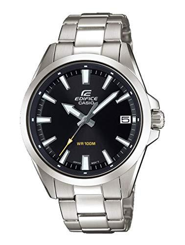 Casio Edifice Herrenarmbanduhr EFV-100D-1AVUEF, schwarz, massives Edelstahlgehäuse und Armband, 10 BAR