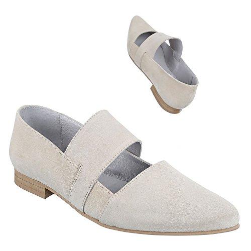 Damen Schuhe, 4586, PUMPS BEQUEME KOMFORT LEDER Beige