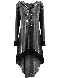 Gabardinas góticas de Moda de otoño para Mujer Abrigo de Trinchera con Cordones Tallas Grandes con