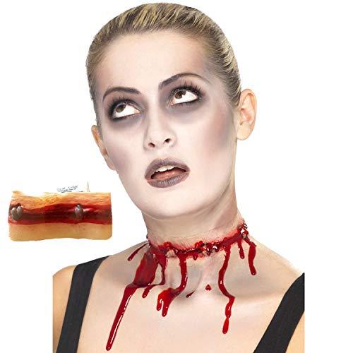 Piccoli monelli ferita cicatrice o ferita collo tagliato per halloween o carnevale con colla