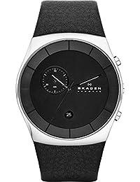 Skagen SKW6070 HAVENE Chronograph Uhr Herrenuhr Lederarmband Edelstahl 50m Analog Chrono Datum schwarz