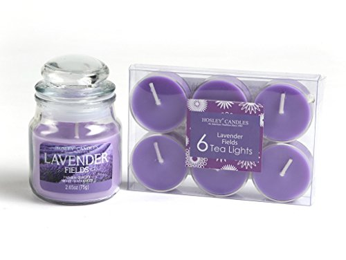 Hosley Highly Fragranced Lavender Fields Wax Jar Candle with 6 Scented Tea Lights