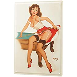 Cartel de chapa Placa metal tin sign Baron chica pin-up sexy sobre una mesa de billar y reyes en mano 20x30 cm