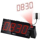 "OnLyee 1.8"" Regulable LED Reloj De Proyección Con Radio FM,USB,Carga Doble Alarma, Batería De Ba"