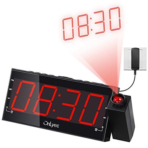 """OnLyee 1.8"""" Radiosveglia FM Dimmerabile Con Proiezione Ora, Display LED, Ricarica USB, Doppia Sveglia, Batteria Tampone, Timer Autospegnimento, Funzione Snooze"""