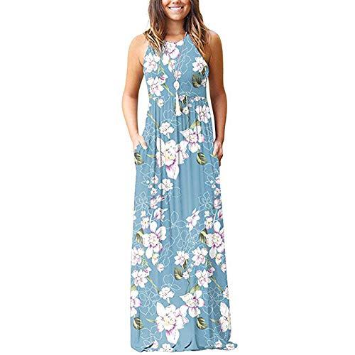 Xyfushi Damen ärmellos Racerback Uni Maxi Kleider Floral Print Casual Lange Kleider mit Taschen Gr. XX-Large, Flower Light Blue Floral Maxi Kleid