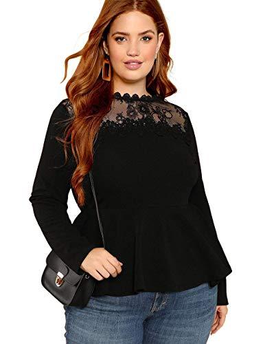 ROMWE Damen Plus Size massiv Langarm Volant rüschensaum Bluse Shirts top 2X schwarz 2# -