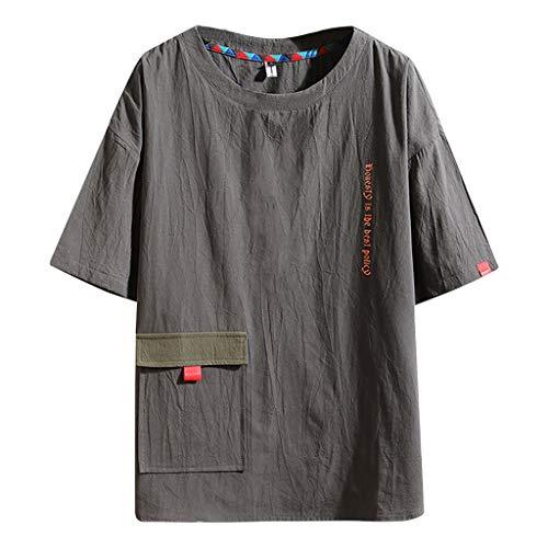 1189f909d Berimaterry Camiseta para Hombre,Verano Algodón y Lino Manga Corta Color  sólido Moda Casual Suelto Retro T-Shirt Blusas Camisas Camiseta Cuello en v  ...