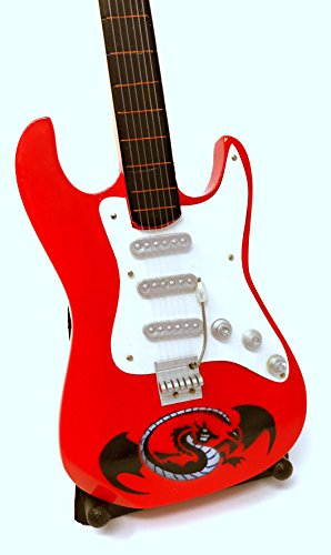 Miniatur Gitarre Deko Gitarre Guitar Fender 24 cm rot Drache #147