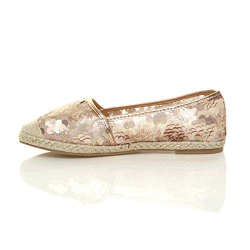 Femmes plat paillette maille espadrilles chaussure de toile ballerines pointure Or rose