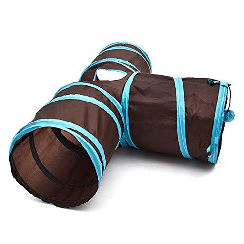 Lustige T-Form Nylon Katzen Tunnel Spielzeug DREI-Wege-Faltbare Home Folding Training Tunnel Pet Produkte Zubehör Supplies, schwarz und blau