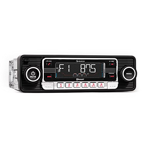 Auna RMD-Sender-One Car Radio • Car radio • Bluetooth Car Hi-Fi System • USB • SD / MMC • FM Radio • MP3 • AUX • Hands-free • Removable • Vintage • Black