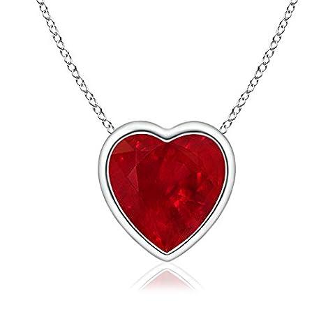 Bezel Set Solitaire Heart Shaped Ruby Pendant in Platinum (6mm