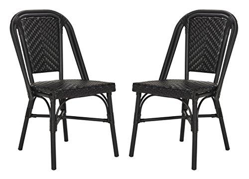 Schwarz Wicker Outdoor-möbel (Safavieh Aisley Bistro Sessel (Satz 2), Wicker/Rattan, schwarz/schwarz,54 X 45 X 88.9 cm)